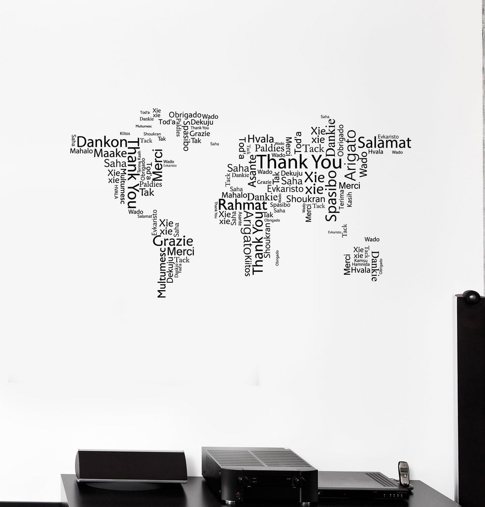 Vinyl Wall Decal World Map Thank You Words Cloud Office Space Room