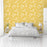Yellow Background Flowers Pattern Multicolored Wallpaper Reusable Removable Accent Wall Interior Art (wal081)
