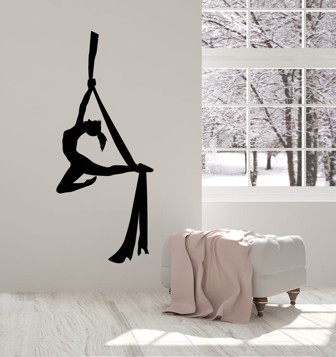 Vinyl Wall Decal Aerial Yoga Girl Beauty Mediation Zen Balance Stickers Mural (g875)