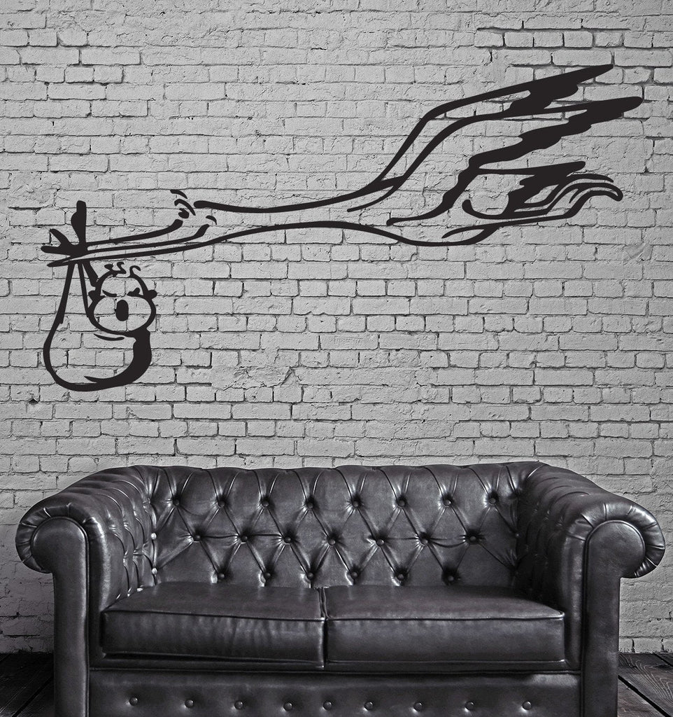 Flying Stork and Baby Funny Animal Kids Wall Art Decor Vinyl Sticker z031