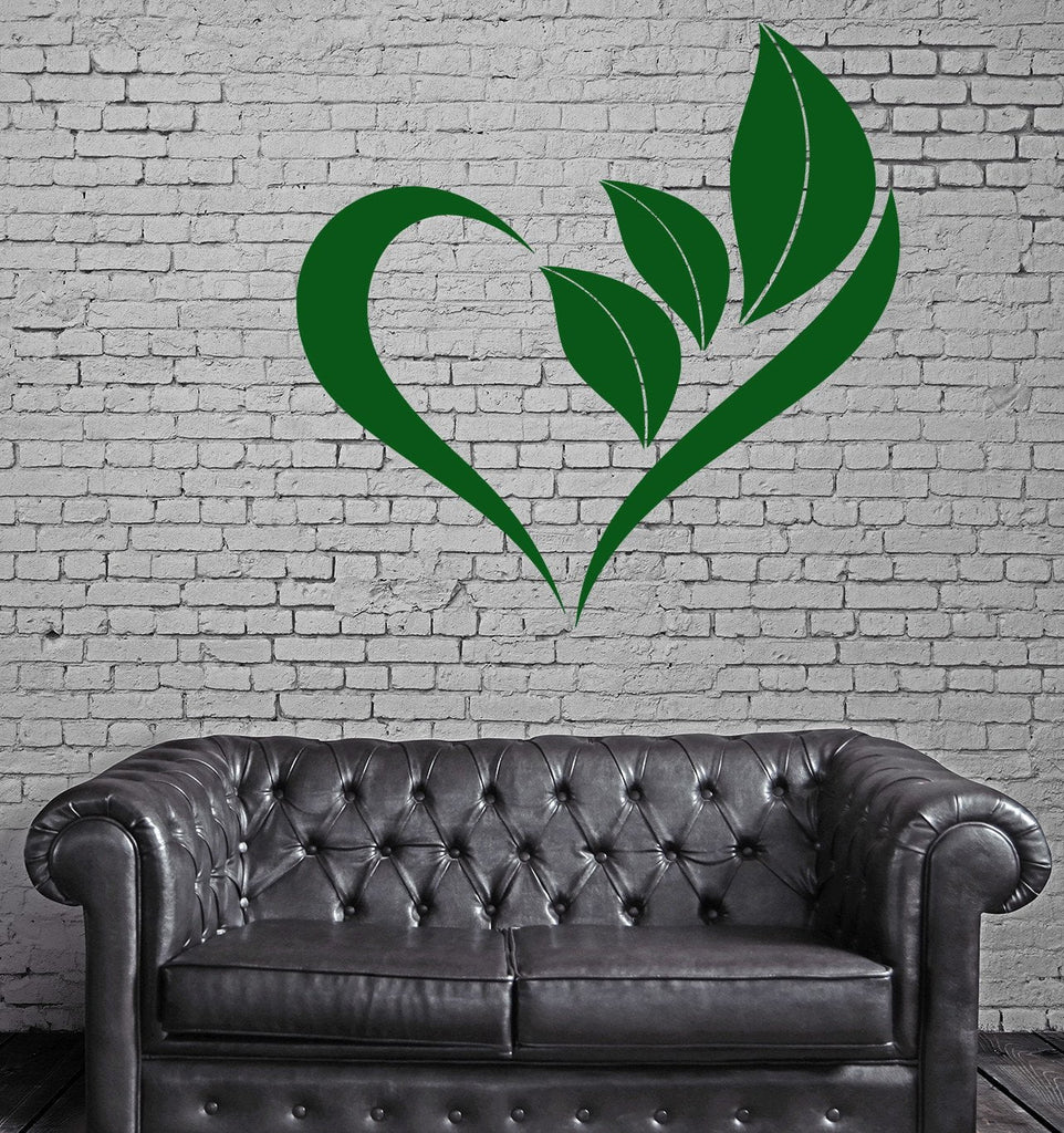 Heart Love To Green Leafs Tree Flower Nature Wall Sticker Vinyl Decal  (z1120)