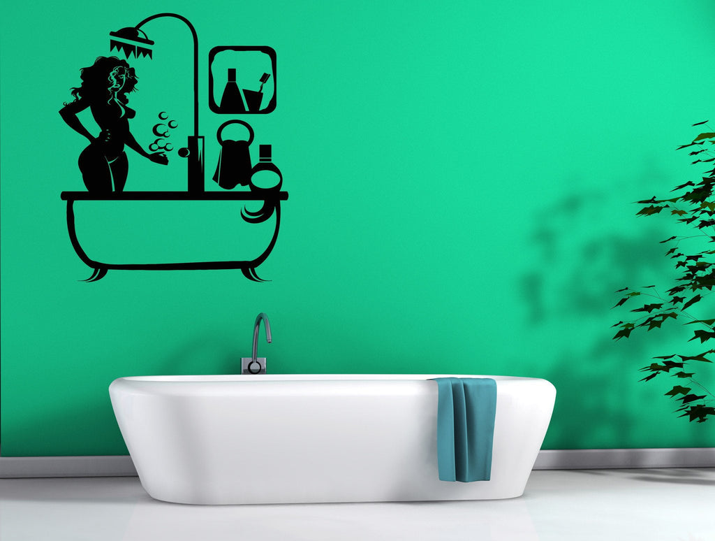 Wall Sticker Bathroom Wall Stickers Vinyl Decal Sexy Girl Takes Shower For Bathroom