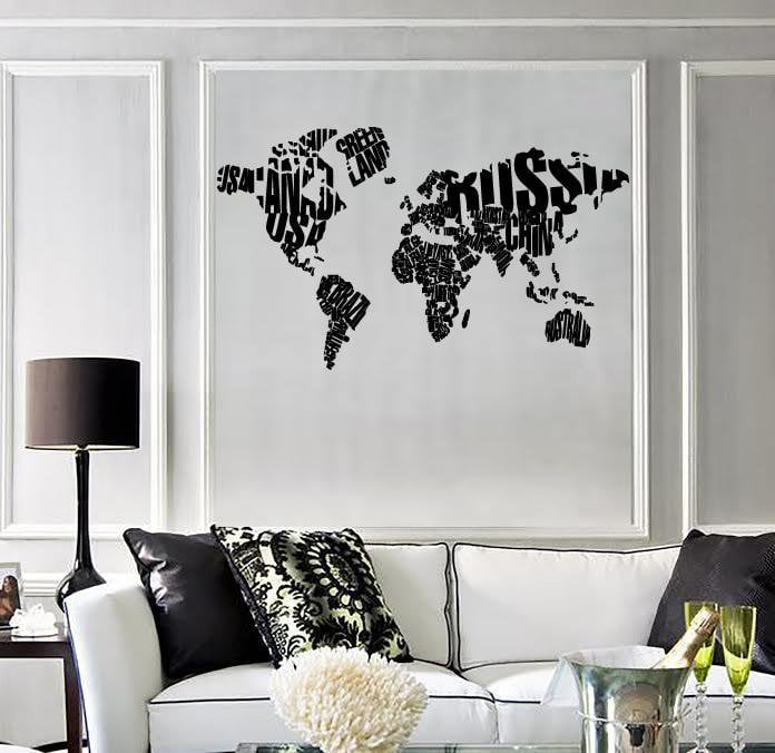 Wall Sticker World Map Made of Country Names Modern Cool Decor for ...