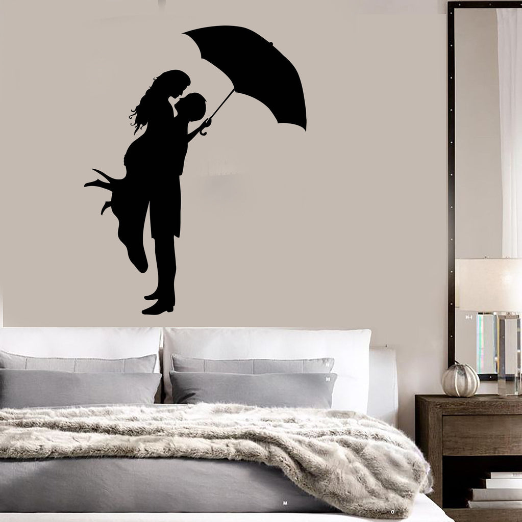 Delightful Vinyl Decal Wall Stickers Kissing Couple With Umbrella Romantic Love U U2013  Wallstickers4you