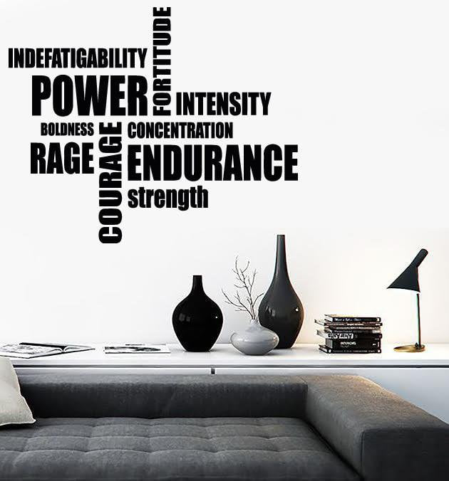 Vinyl Decal Wall Stickers Sport Motivation Words Power Endurance Rage Strenght (z1674)