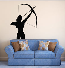 Large Wall Vinyl Decal Girl with a Crossbow Archery Sports Decor Unique Gift z2023