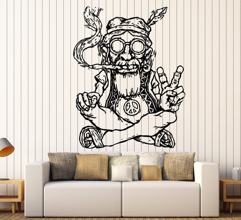 Vinyl Decal Wall Sticker Hippie In Glasses Smoking Weed Marijuana Peace Symbol Ethnic Decor Unique Gift Z2173