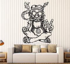 Vinyl Decal Wall Sticker Hippie In Glasses Smoking Weed Marijuana Peace Symbol Ethnic Decor Unique Gift (z2173)