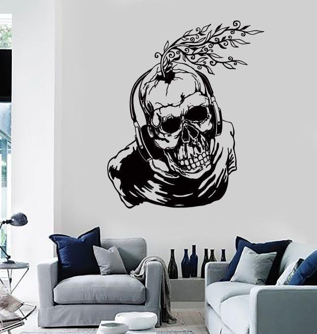 Wall Stickers Vinyl Decal Scary Skull In Headphones Creepy Cool Decor Unique Gift (z2178) & Wall Stickers Vinyl Decal Scary Skull In Headphones Creepy Cool ...