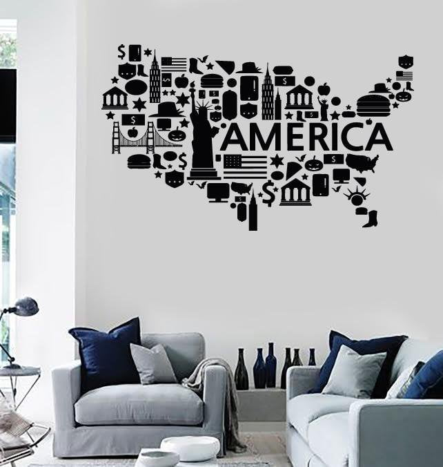 Wall Stickers Vinyl Decal USA Map Famous Places America Coolest