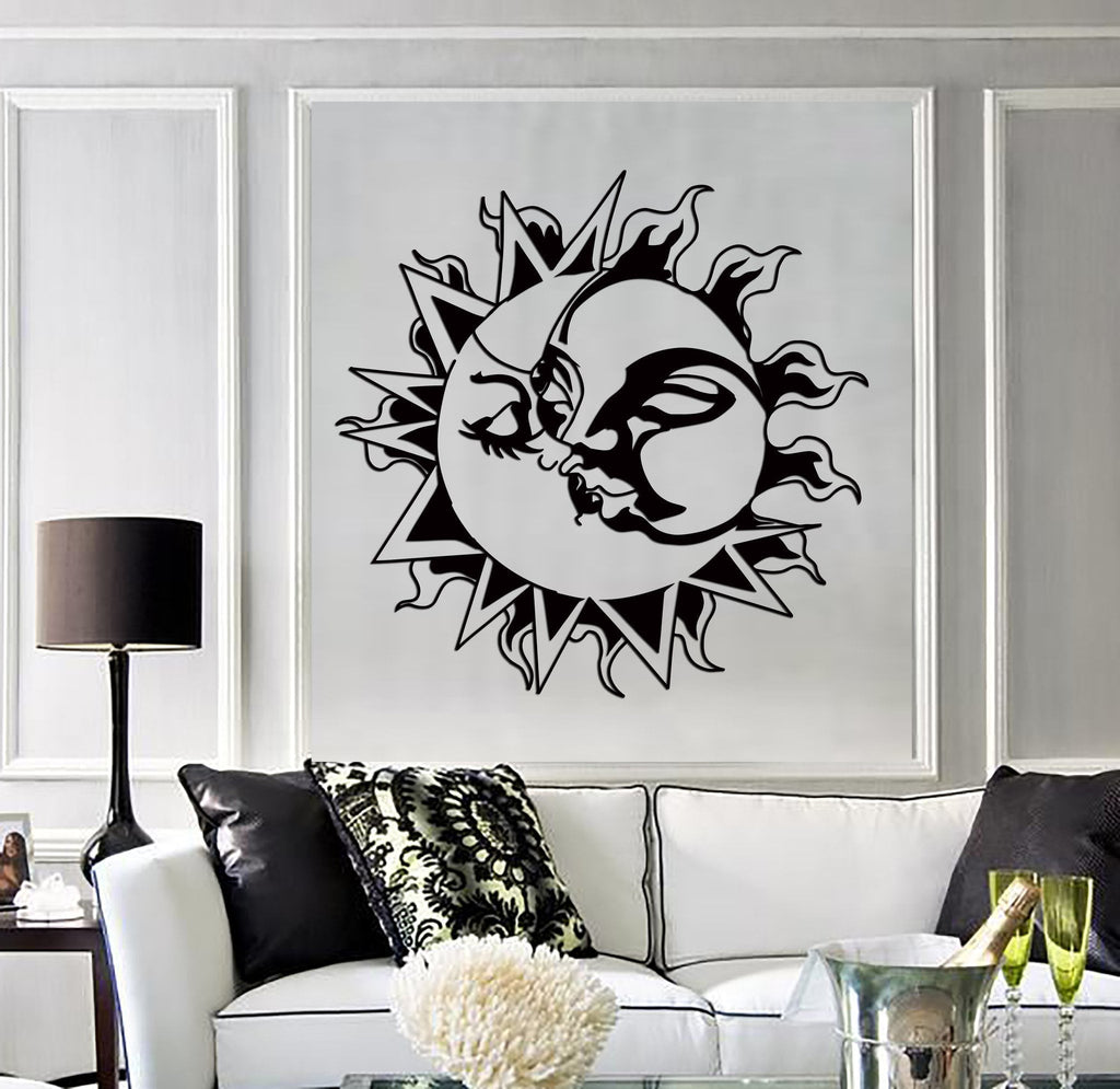 Vinyl Decal Wall Stickers Sun Kissing Moon Love Romantic Decor for Living Room (z2210)