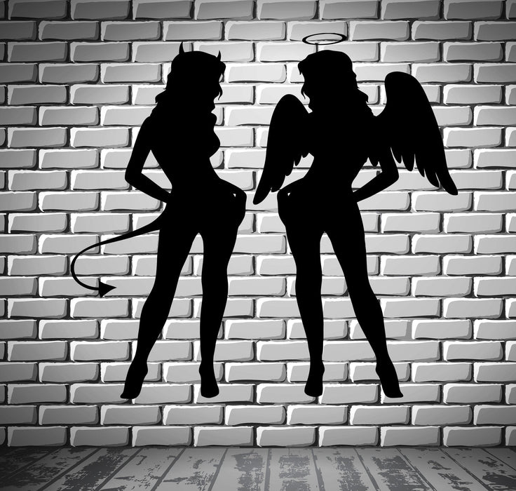 Sexy Naked Girls Angel And Demon Decor Wall Stickers Vinyl Decal  (z2249)