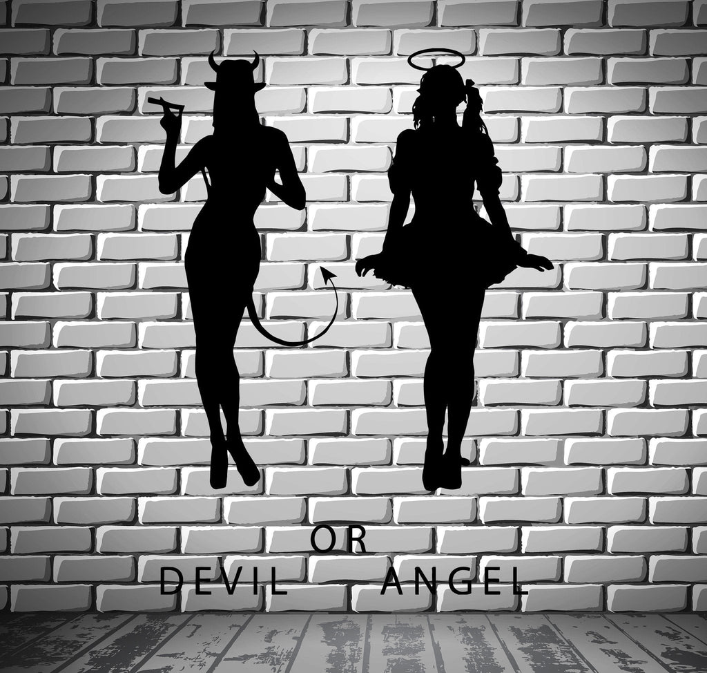 Devil And Angel Hot Sexy Girls Decor Wall Stickers Vinyl Decal (z2255)