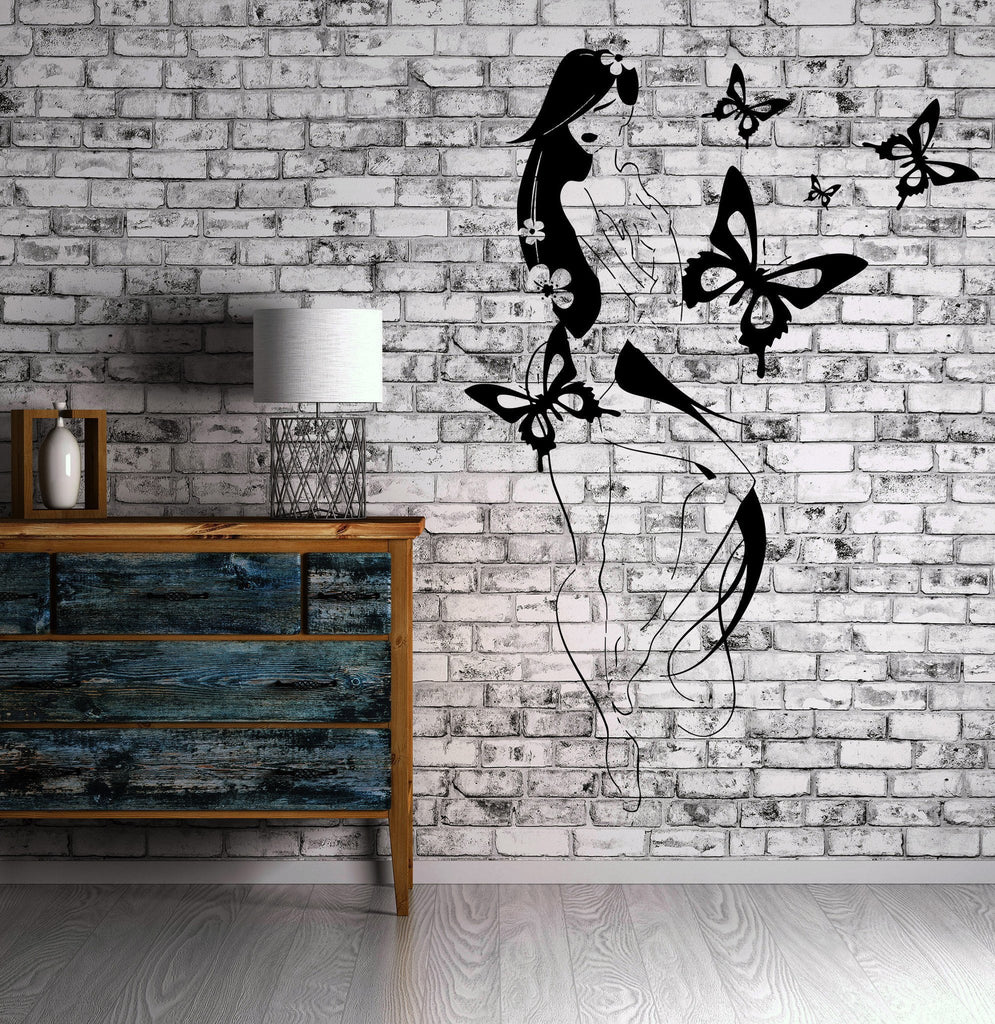 Sexy Hot Naked Girl Butterfly Flower Decor Wall Stickers Vinyl Decal (z2257)
