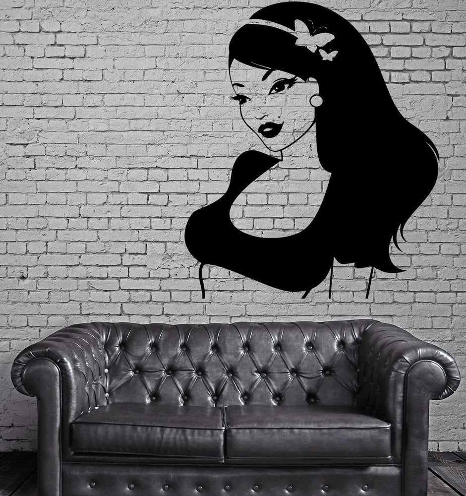 Super Sexy Girl Woman Female Butterfly Decor Wall Stickers Vinyl Decal (z2267)