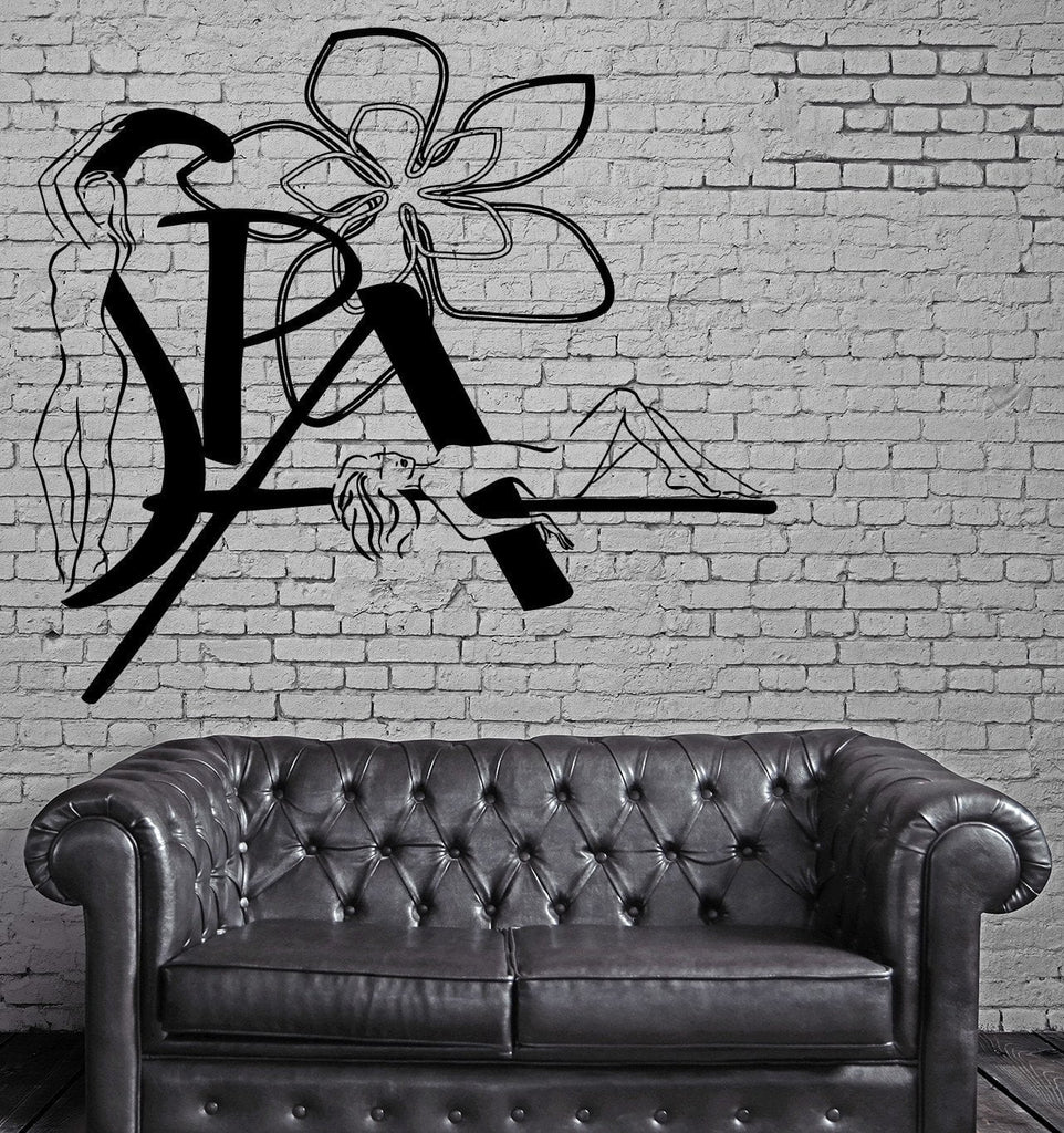 Vinyl Decal Spa Beauty Salon Girl And Flowers Decor Wall Stickers (z2270)