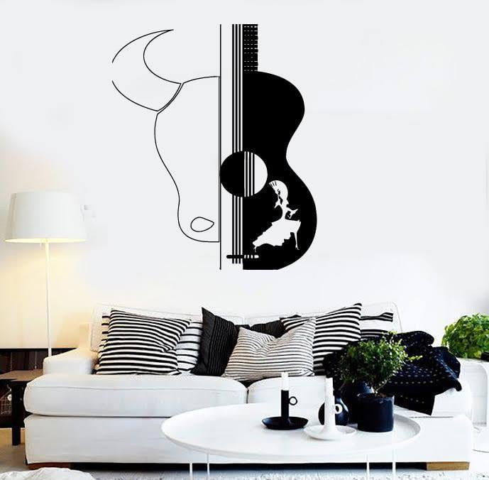 wall stickers vinyl decal spain spanish dance guitar bull decor