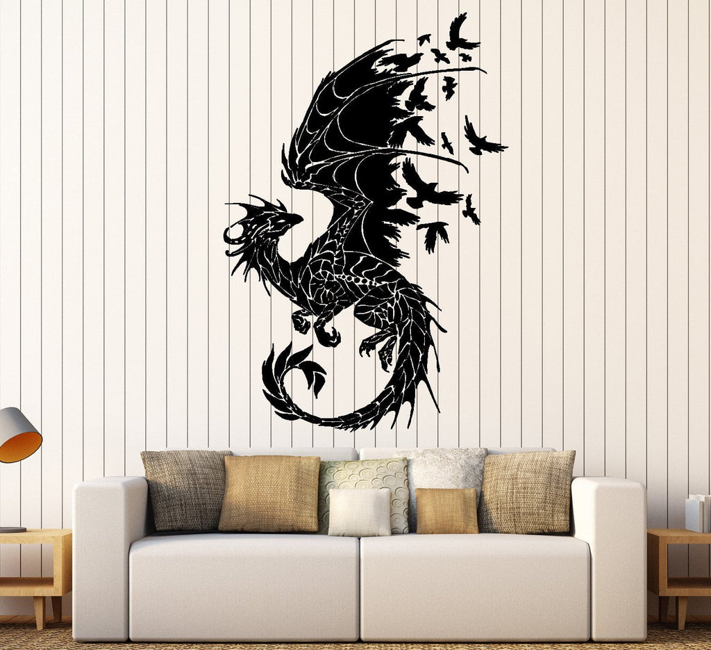 Dragon Wall Sticker Birds Fantasy Fairytale Gothic Abstract Decor - Custom vinyl wall decals dragon