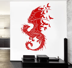 Dragon Wall Sticker  Birds Fantasy Fairytale Gothic Abstract Decor (z2514)