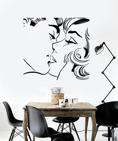 Wall Sticker Kiss Kissing Couple Romantic Love Decor For Pop Art Bedroom (z2577)