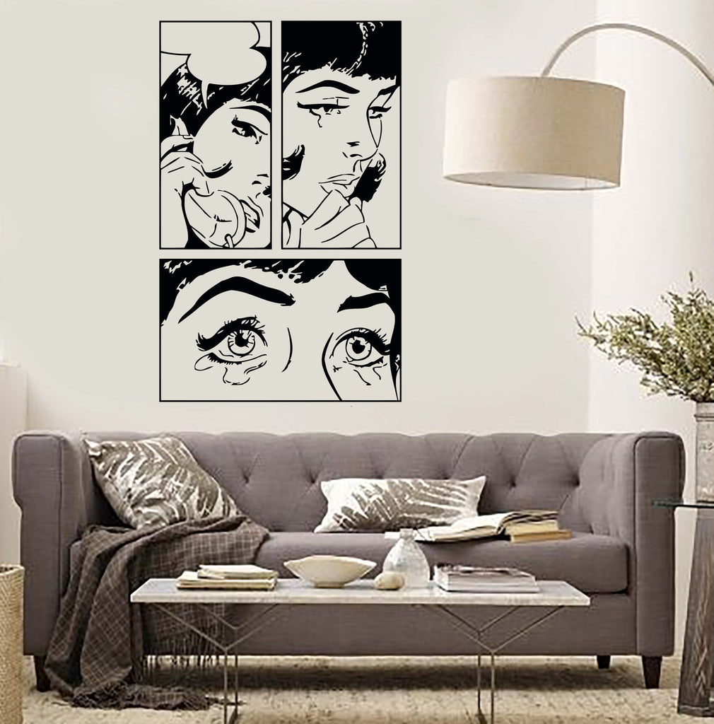 Wall Sticker Sexy Girl Woman Teen Crying Cool Pop Art Bedroom (z2591)