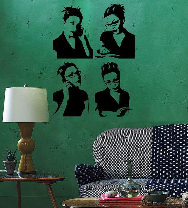 Wall Sticker Business lady Girl Teen Woman Book Reading Cool Pop Art Unique Gift (z2608)