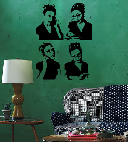 Wall Sticker Business lady Girl Teen Woman Book Reading Cool Pop Art (z2608)