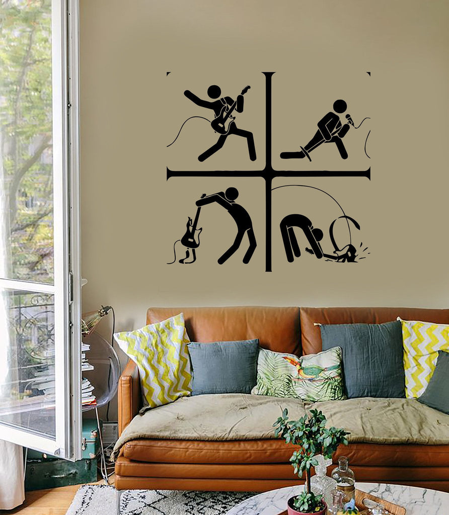 Wall Stickers Guitar Music Rock Pop Notes Art For Living Room (z2618)