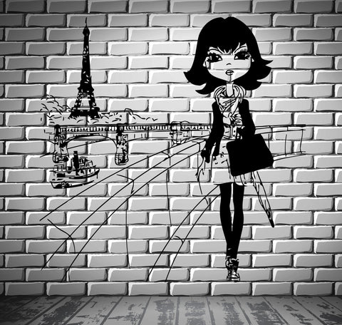 Decal Paris Eiffel Tower France Europe Fashion Girl Decor For Bedroom (z2634)