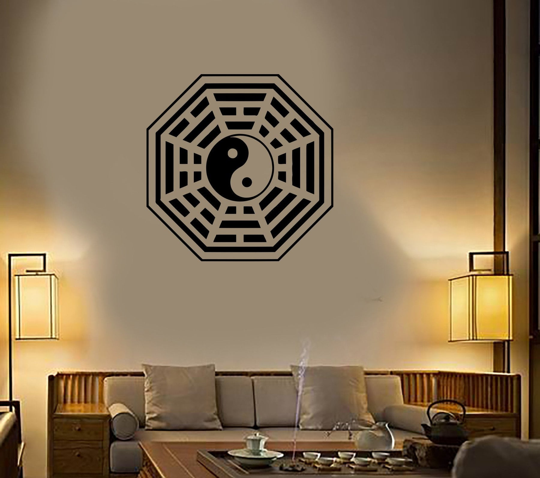 Wall Decal Buddha Yin Yang Oriental Relaxation Meditation OM Decor Unique Gift (z2654)