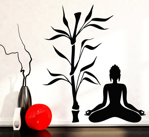 Vinyl Decal Buddha and Bamboo Tree Yoga Studio Decoration Buddhism Meditation Relaxation OM Zen (z2666)