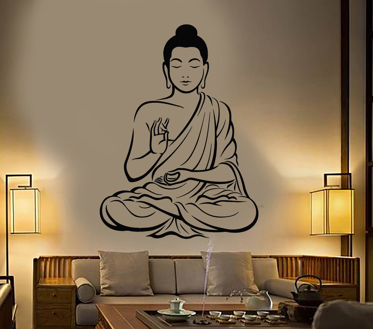 Buddha Wall Decal Buddhism Om Relaxation Zen Meditation