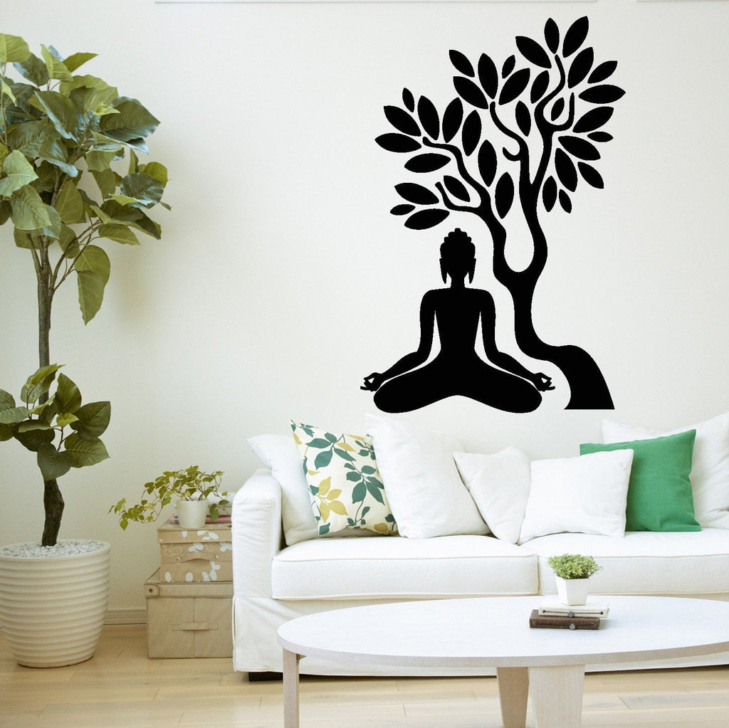 Buddha yoga meditation wall decals wallstickers4you buddha tree wall decal blossom yoga meditation relaxation om zen unique gift z2668 amipublicfo Gallery
