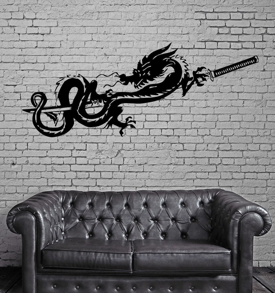 Decal Dragon Sword Katana Myth Mythology Fantasy Monster Cool Interior (z2710)