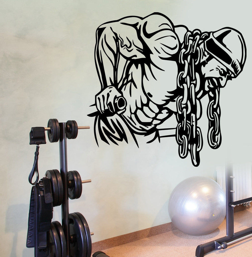 Wall Decal Sport Bodybuilding Bodybuilder Muscle Man Deeps Weights (z2771)