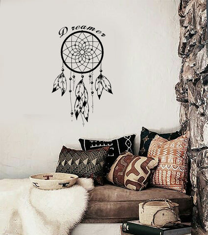 Wall Decal Dream Catcher Dreamcatcher Feather Quote Dreamer (z2781)