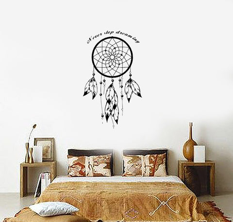 Wall Decal Dream Catcher Dreamcatcher Talisman Quote Never Stop Dreaming (z2783)