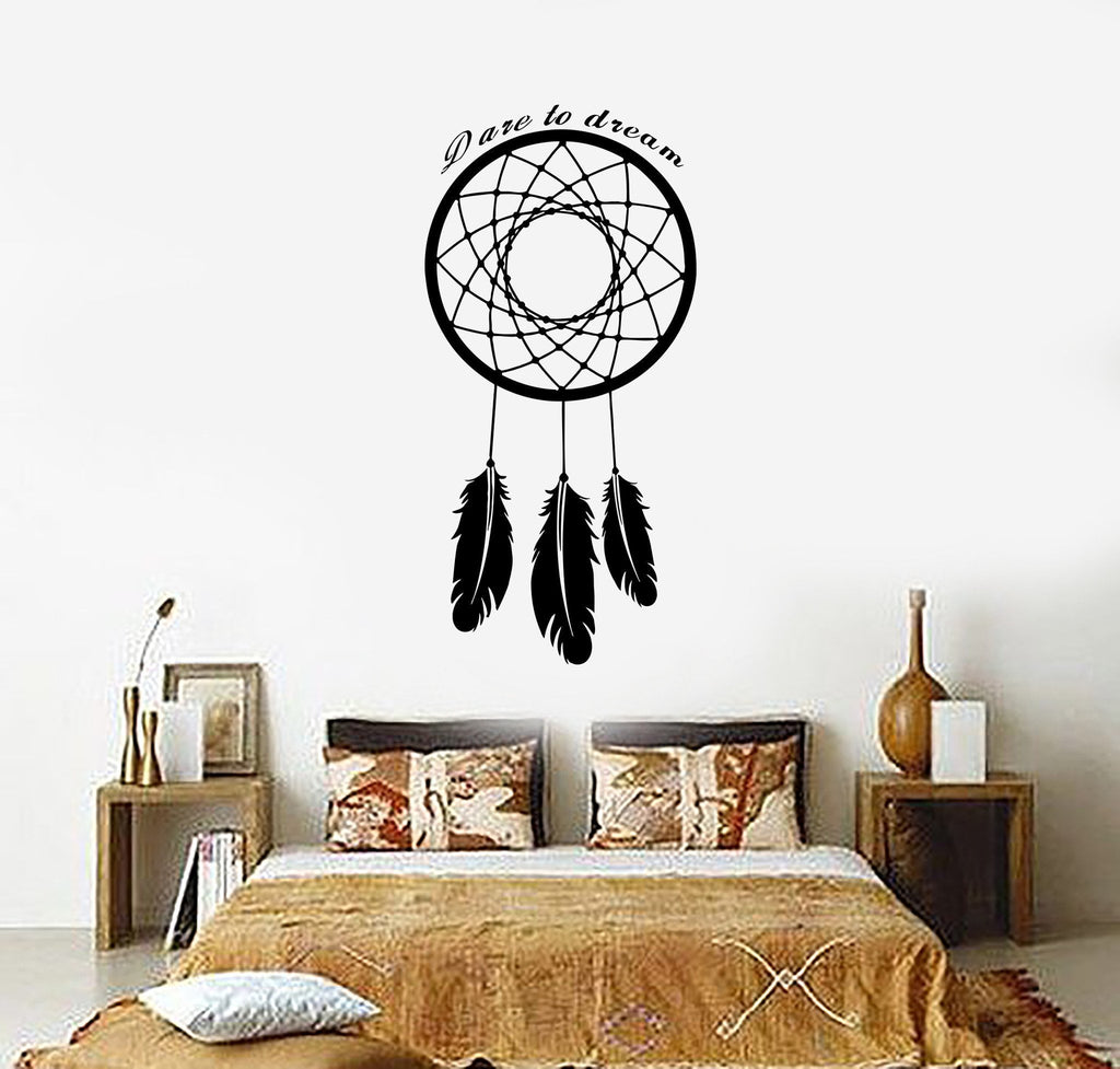 Wall Decal Dream Catcher Dreamcatcher Amulet Qoute Dare To Dream Unique Gift (z2785)