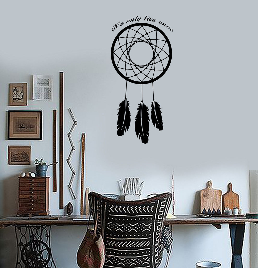 Wall Decal Dream Catcher Dreamcatcher Amulet Quote We Only Live Once Unique Gift (z2787)