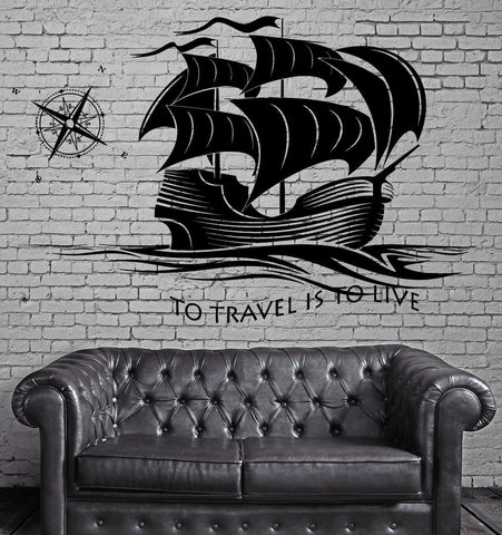 Decal Ship Yacht Compass Quotes To Travel Is To Live Ocean  Sea Waves z2834