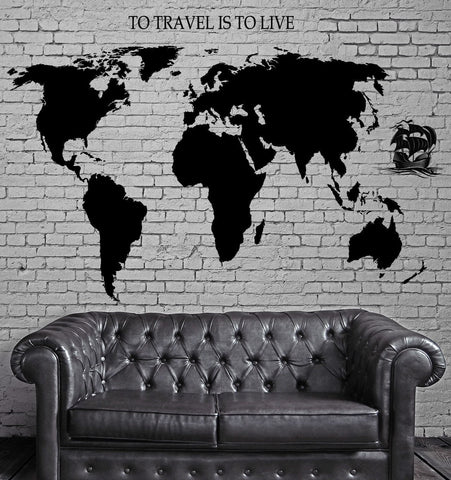 Quotes and words wall vinyl decals wallstickers4you decal world map ship yacht waves quotes to travel is to live vinyl unique gift gumiabroncs Gallery