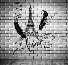 Decal Paris Eiffel Tower Amour Love Hearts Feather Romantic Sticker (z2846)