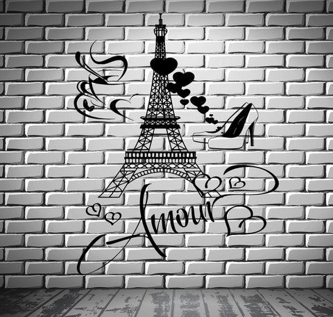 Decal Paris Eiffel Tower I Love Shoes Hearts Love Romantic Cup Of Coffee Unique Gift z2849