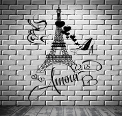Decal Paris Eiffel Tower I Love Shoes Hearts Love Romantic Cup Of Coffee z2849