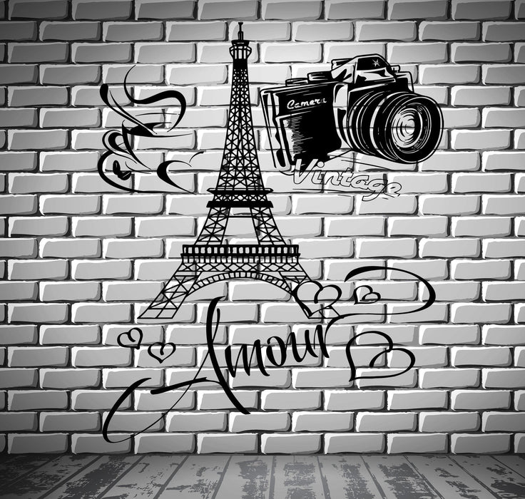 Decal Paris Eiffel Tower Amour Love Hearts Cup Of Coffee Vintage Camera Unique Gift (z2850)