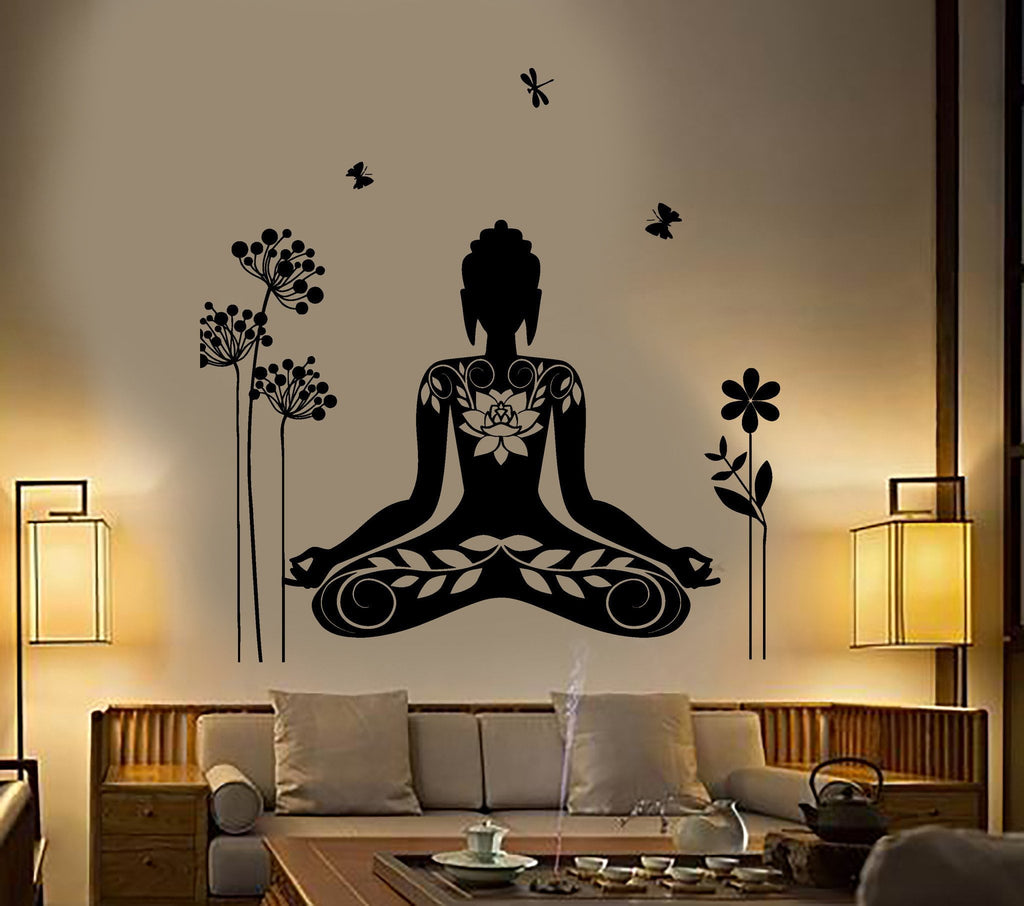 Awesome Buddha Wall Sticker Meditation Mantra Flower Butterfly Yoga Vinyl Decal  Unique Gift (z2892)