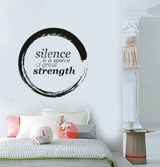 Buddha Enso Silence is A Source of Great Strength Quotes Vinyl Decal Unique Gift (z2912)