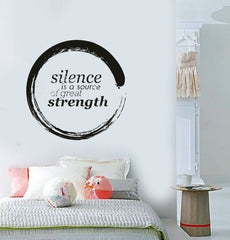 Buddha Enso Silence is A Source of Great Strength Quotes Vinyl Decal (z2912)