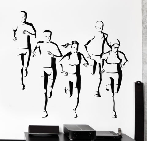 Wall Vinyl Marathon Runners Jogging Olympic Sports Fitness Gym Art Sticker Decal (z3038)