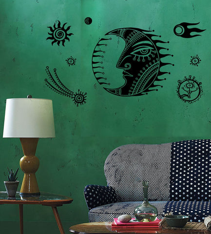 Wall Decal Moon Star Space Universe Comet Mural Vinyl Decal (z3158)